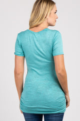 Aqua Heather Short Sleeve Maternity Top