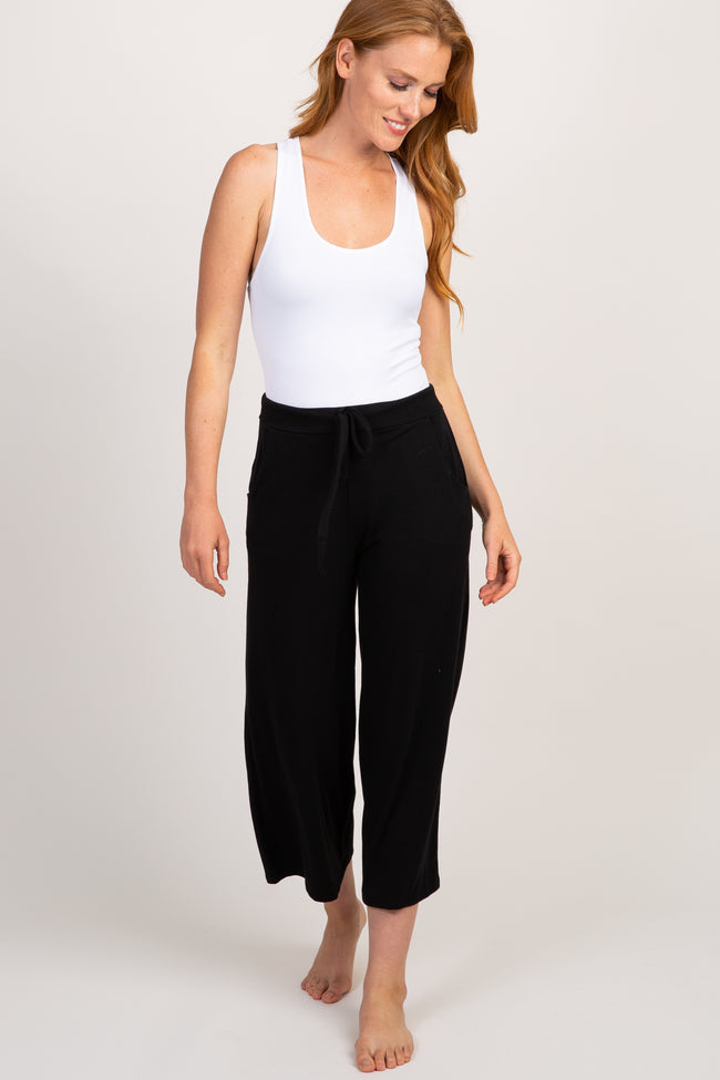 Black Crop Maternity Lounge Pants