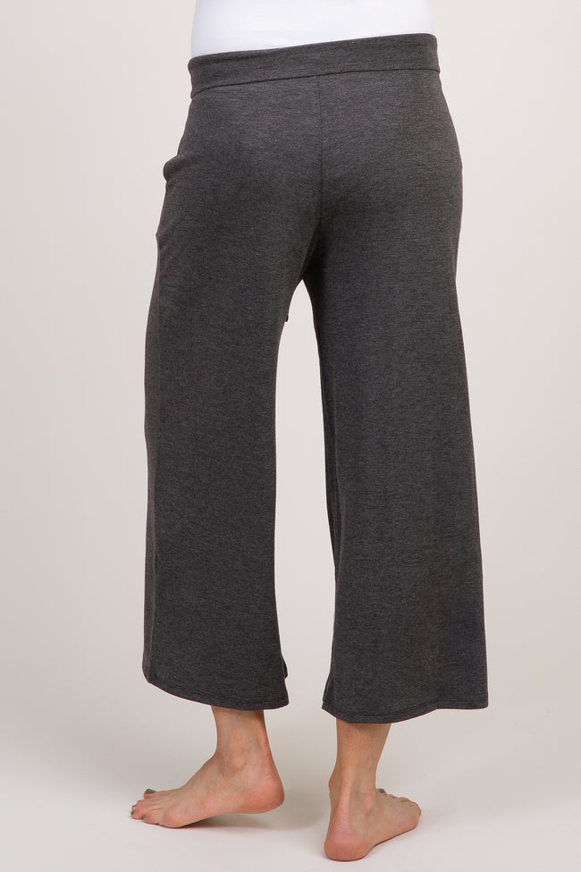 Charcoal Heather Crop Maternity Lounge Pants
