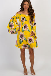 Yellow Floral Off Shoulder Layered Sleeve Maternity Dress
