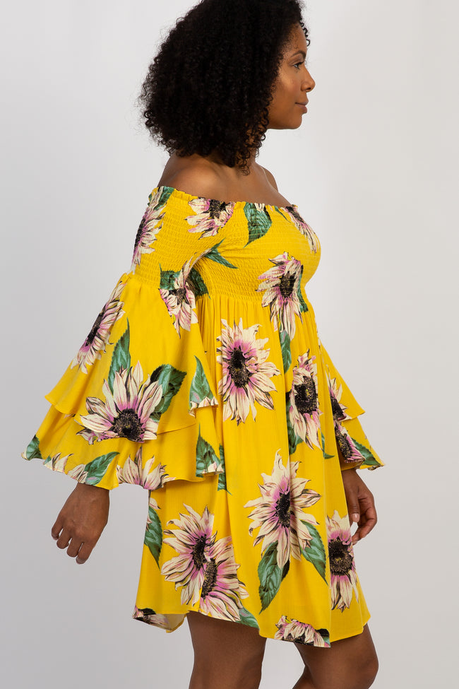 Yellow Floral Off Shoulder Layered Sleeve Dress