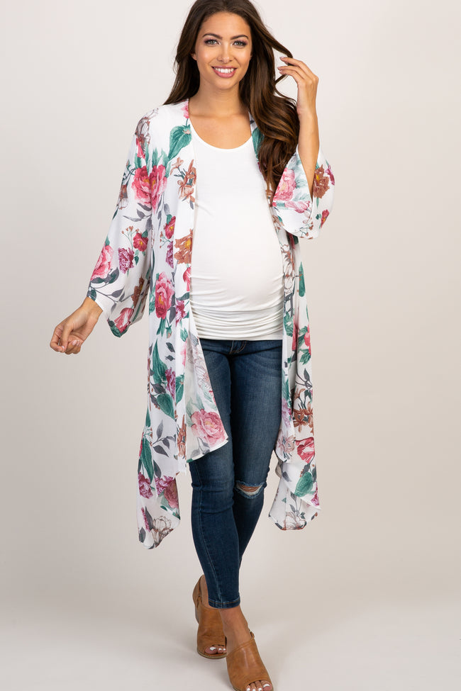 Ivory Rose Floral Asymmetrical Draped Maternity Cover Up