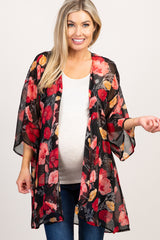 Black Floral Chiffon Draped Maternity Cover Up