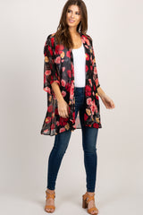 Black Floral Chiffon Draped Cover Up