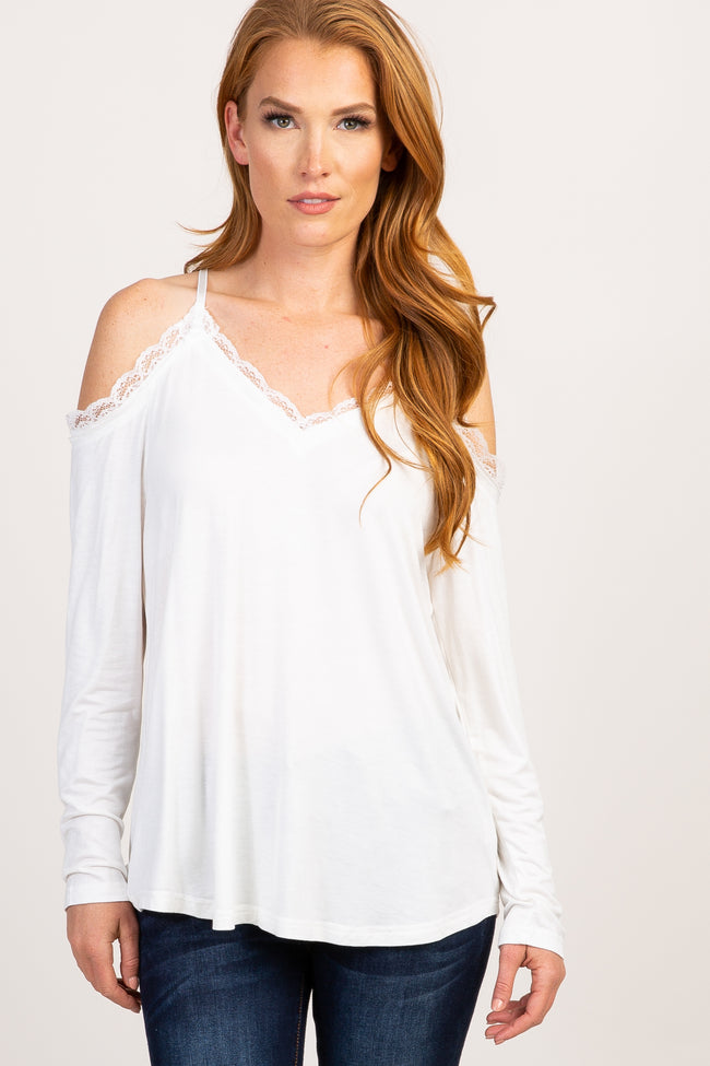White Solid Lace Cold Shoulder Maternity Top