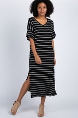 Black Striped Ruffle Sleeve Side Slit Maternity Maxi Dress
