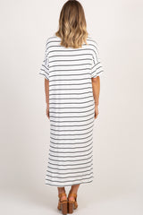 White Striped Ruffle Sleeve Side Slit Maxi Dress