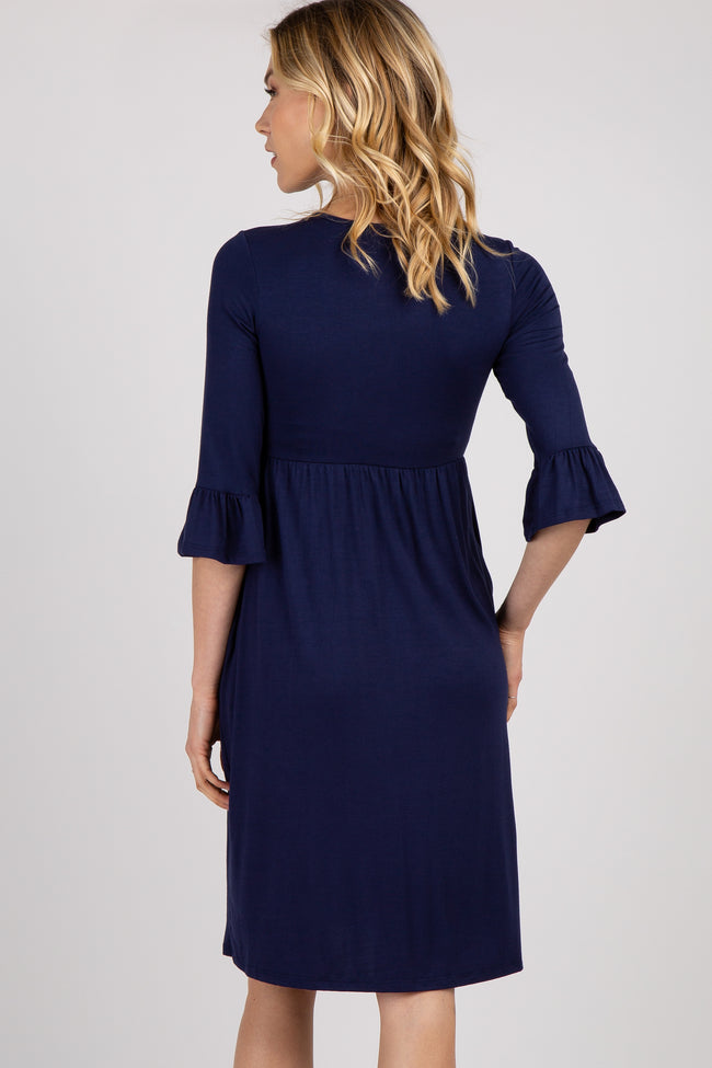 Navy Solid Ruffle Trim Maternity Dress