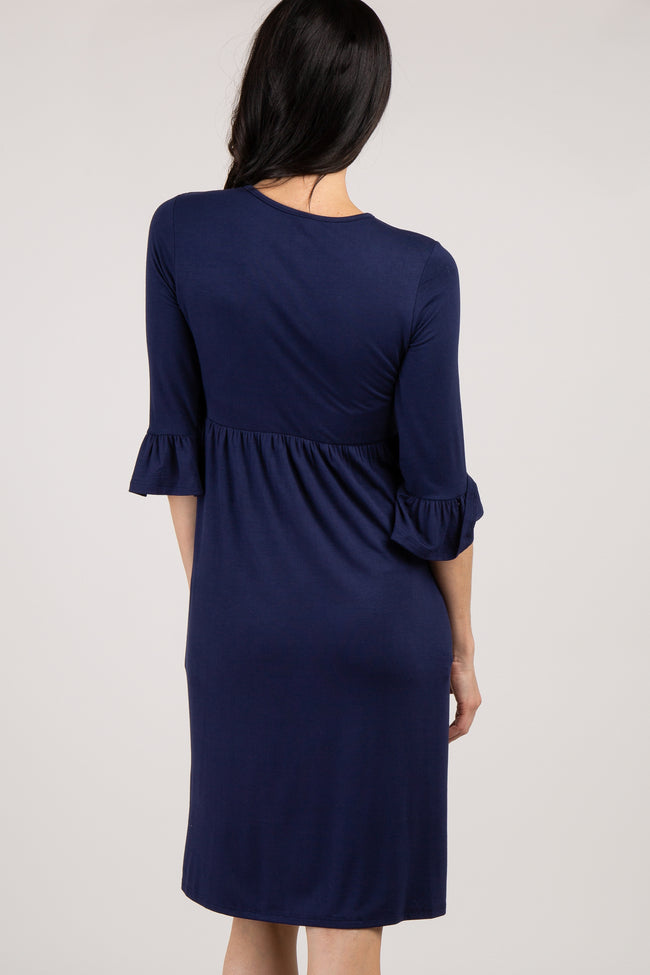 Navy Solid Ruffle Trim Dress