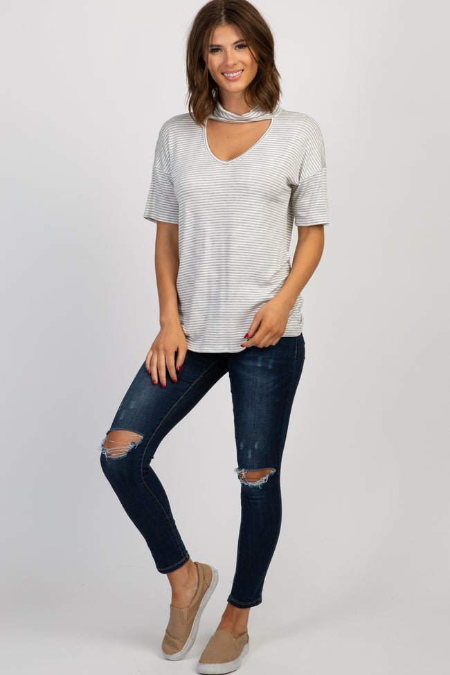 Heather Grey Striped Mock Neck Cutout Top
