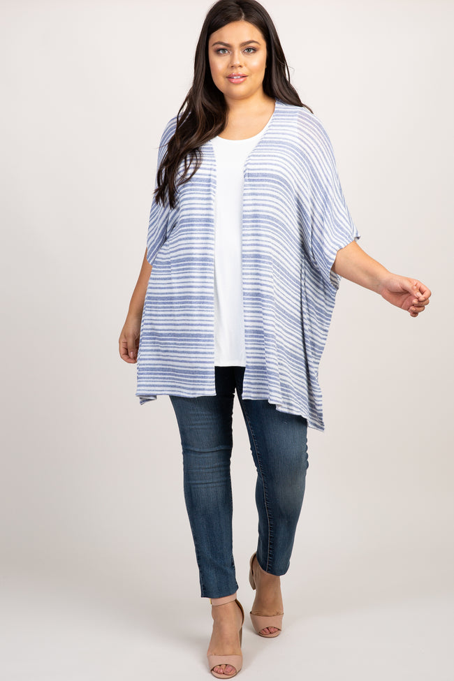 Blue Striped Open Knit Dolman Sleeve Plus Cardigan
