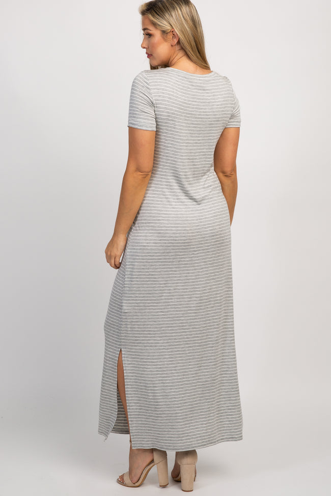 Heather Grey Striped Side Slit Maternity Maxi Dress