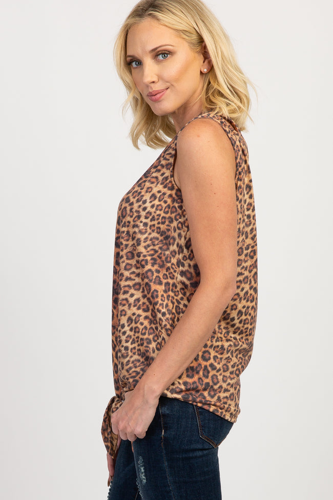 Brown Leopard Sleeveless Tie Front Top