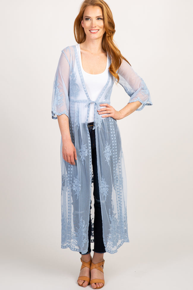 Light Blue Lace Mesh Tie Front Long Maternity Kimono