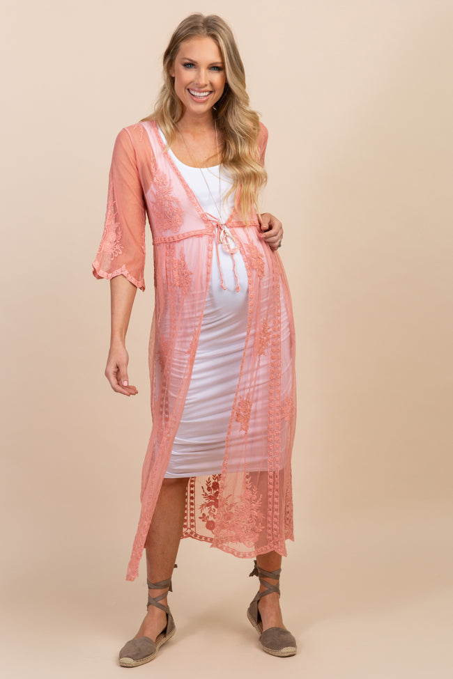 Peach Lace Mesh Tie Front Long Maternity Cover Up