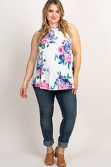 Ivory Floral Sleeveless Plus Top
