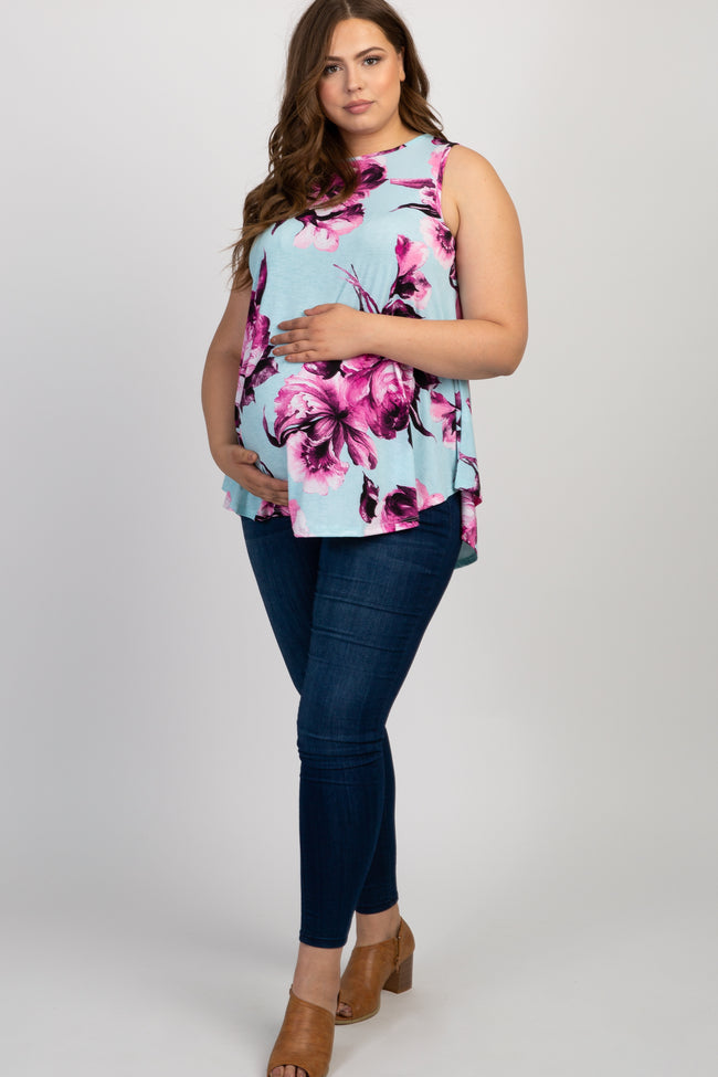 Mint Green Floral Sleeveless Plus Maternity Top