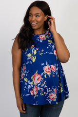 Royal Blue Floral Sleeveless Plus Maternity Top