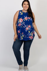 Royal Blue Floral Sleeveless Plus Top