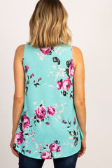 Mint Green Floral Sleeveless Top