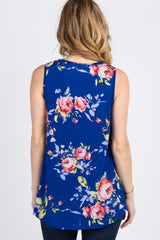 Royal Blue Floral Sleeveless Top