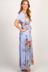 Lavender Floral Wrap Top Maxi Dress