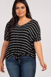 Black Striped Knotted Hem Plus Top