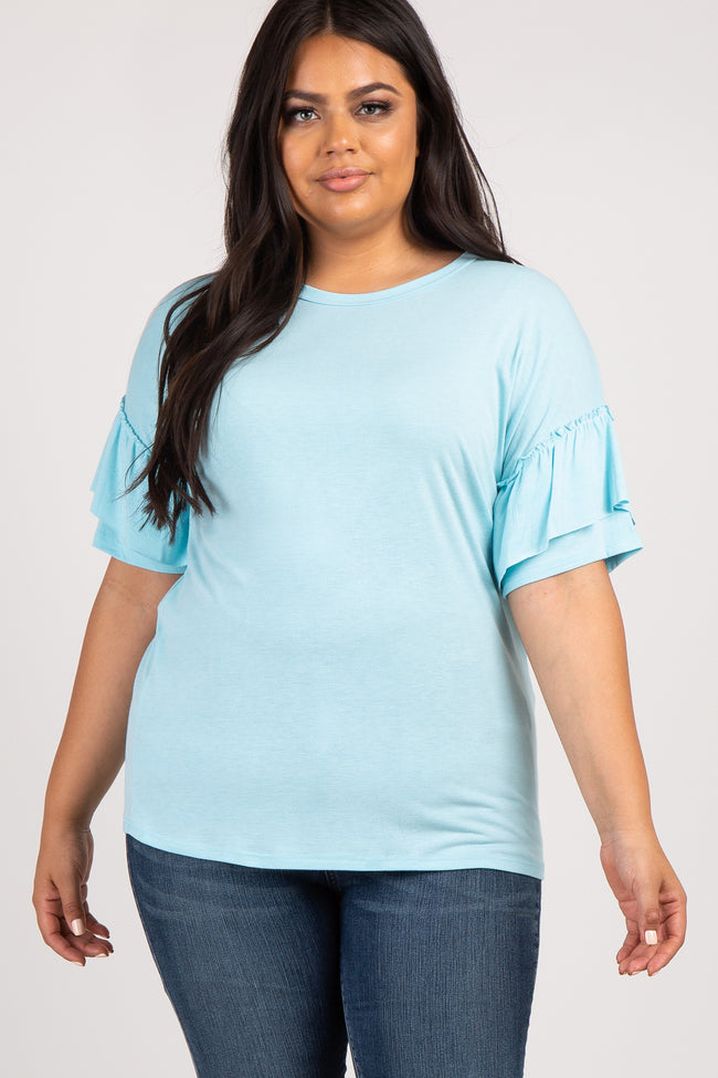 Light Blue Ruffle Sleeve Knit Plus Maternity Top
