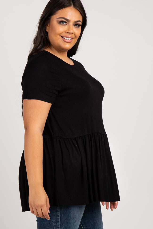 Black Peplum Short Sleeve Women's Plus Top
