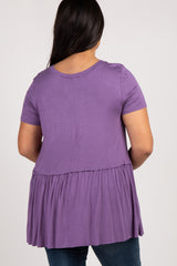 Lavender Peplum Short Sleeve Women's Plus Top