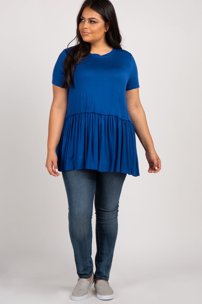 Blue Peplum Short Sleeve Women's Plus Top