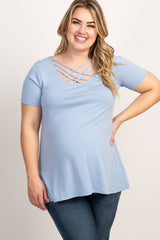 Light Blue Caged Front Short Sleeve Maternity Plus Top