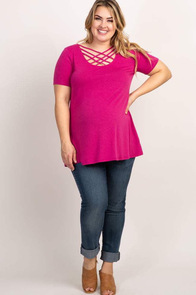 Magenta Caged Front Short Sleeve Maternity Plus Top