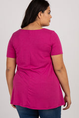 Magenta Caged Front Short Sleeve Plus Top