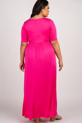 Fuchsia Short Sleeve Pleated Plus Maxi Dress