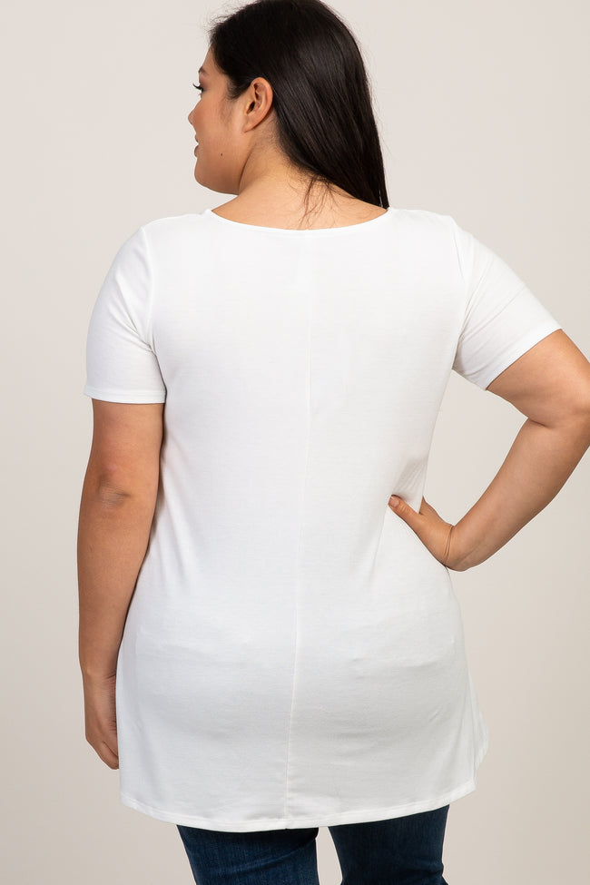 Ivory Caged Front Short Sleeve Maternity Plus Top
