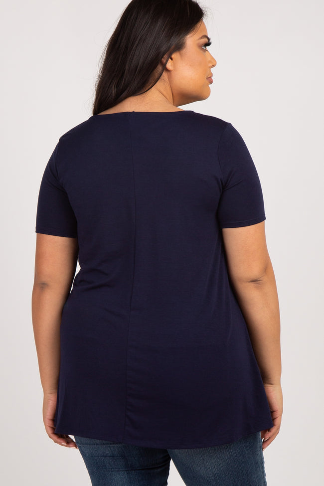 Navy Blue Caged Front Short Sleeve Plus Top