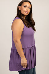 Lavender Sleeveless Peplum Plus Top
