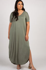Light Olive Short Sleeve Round Hem Plus Maxi Dress