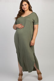 Light Olive Short Sleeve Round Hem Maternity Plus Maxi Dress
