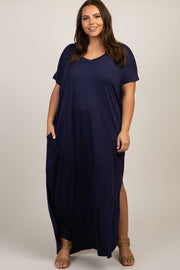 PinkBlush Navy Blue Short Sleeve Round Hem Plus Maxi Dress