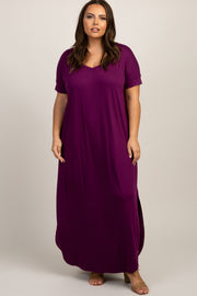 Plum Short Sleeve Round Hem Plus Maxi Dress