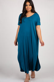 Teal Short Sleeve Round Hem Women's Plus Maxi Dress