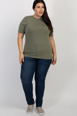Light Olive Solid Short Sleeve Plus Top