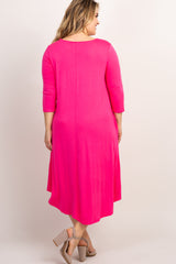 Fuchsia 3/4 Sleeve Maternity Plus Swing Midi Dress