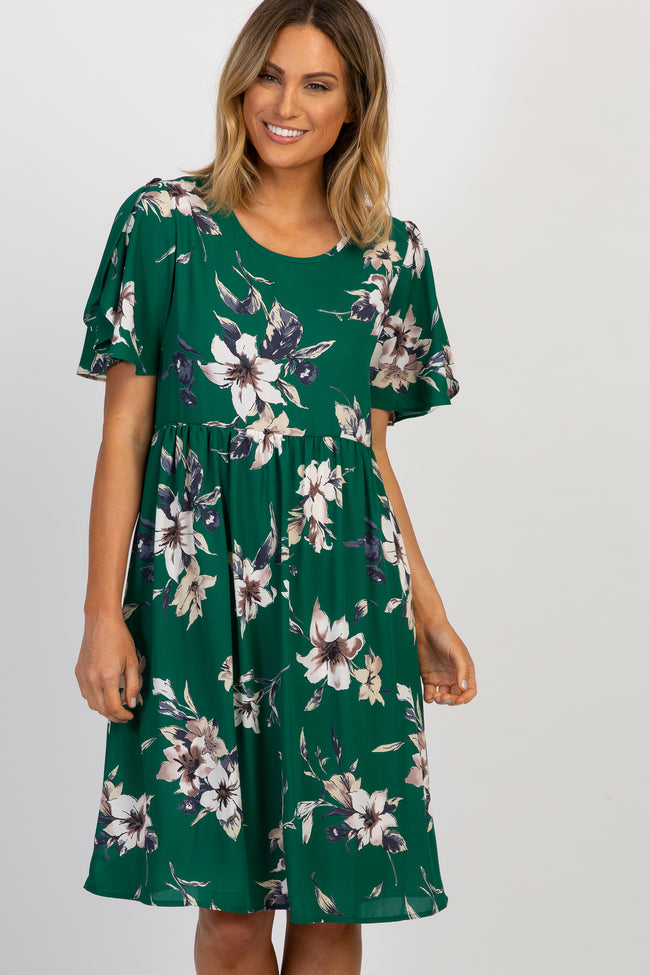 Green Floral Ruffle Sleeve Dress