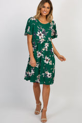 Green Floral Ruffle Sleeve Maternity Dress