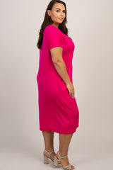 Fuchsia Short Sleeve Knot Plus Dress