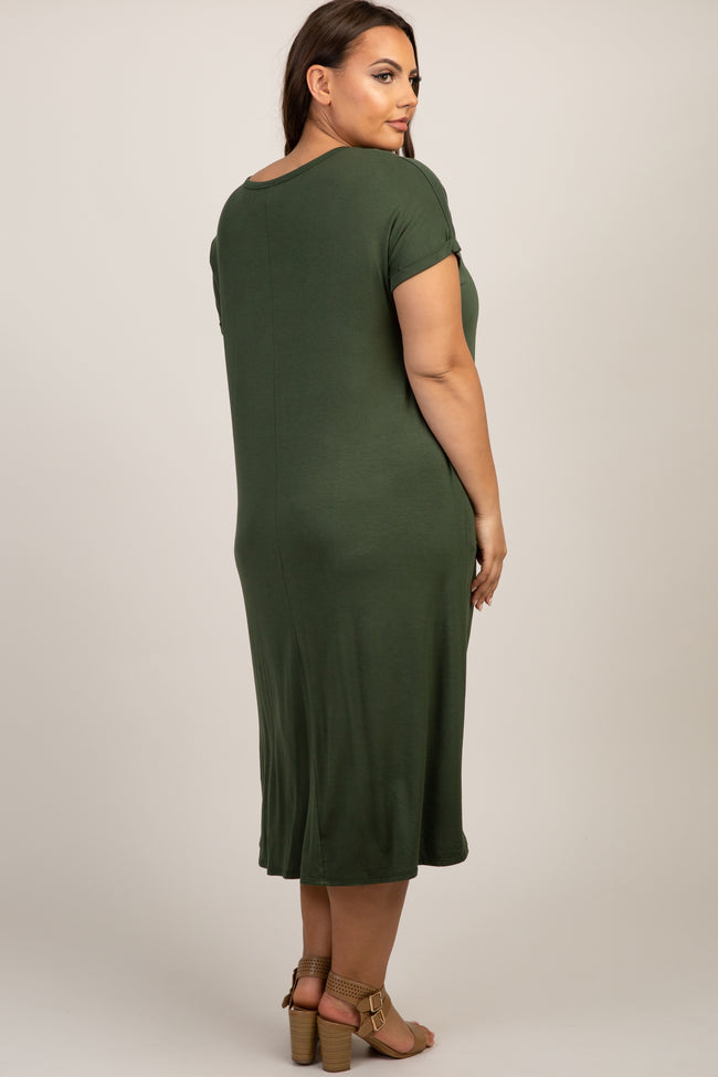 Olive Short Sleeve Knot Plus Dress