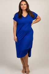 Royal Blue Short Sleeve Knot Plus Dress